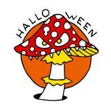 Счастливый значок шаржа хеллоуина с грибом toadstool Стоковые Изображения RF