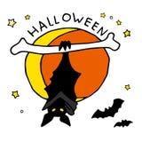 Счастливый значок шаржа хеллоуина с летучими мышами Стоковая Фотография