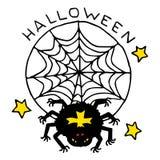 Счастливый значок шаржа хеллоуина с пауком в сети Стоковые Фотографии RF