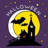 Счастливый значок шаржа хеллоуина с преследовать замком и летучими мышами Стоковая Фотография