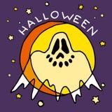 Счастливый значок шаржа хеллоуина с призраком Стоковая Фотография