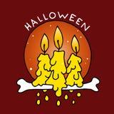 Счастливый значок шаржа хеллоуина с свечами Стоковое фото RF