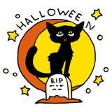 Счастливый значок шаржа хеллоуина с черным котом Стоковые Изображения
