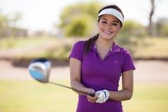 Счастливый игрок в гольф готовый для того чтобы сыграть стоковое фото