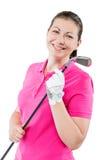 счастливый игрок в гольф на белой предпосылке усмехаясь и держа гольф Стоковое Изображение RF