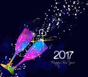 Счастливый дизайнов поздравительной открытки 2017 или плаката Нового Года с красочным стеклом треугольника Стоковая Фотография RF