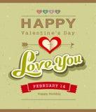 Счастливый дизайн знамени сообщения валентинки на рециркулированной бумаге иллюстрация штока