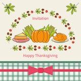 Счастливый дизайн карточки приглашения благодарения Стоковое Изображение