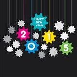 Счастливый дизайн предпосылки шестерни Нового Года 2015 Стоковое Изображение