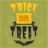 Счастливый дизайн приглашения партии иллюстрации вектора поздравительной открытки хеллоуина с пугающей эмблемой Стоковые Изображения