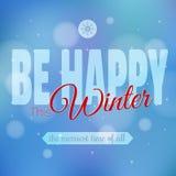 Счастливый дизайн плаката мотивировки зимы, современный Стоковые Изображения