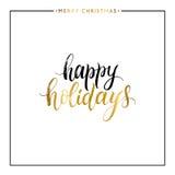 Счастливый изолированный текст золота праздников Стоковые Изображения RF