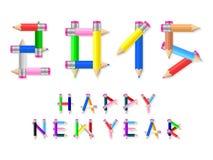 Счастливый карандаш Нового Года Стоковая Фотография RF