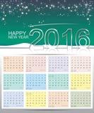 Счастливый календарь Нового Года 2016 Стоковые Изображения RF