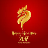 Счастливый китайский Новый Год 2017 с золотым петухом Стоковые Изображения