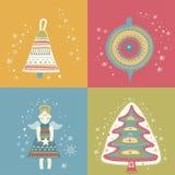 Счастливый комплект Рожденственской ночи Нового Года бесплатная иллюстрация