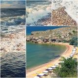 Счастливый коллаж фото темы летнего времени составленный colorized изображений моря Азова Стоковые Изображения RF
