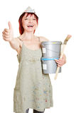 Колеривщик с щеткой и краской Стоковое Фото