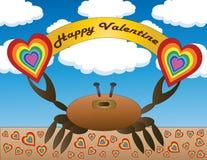 Счастливый краб валентинки иллюстрация вектора