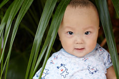 Счастливый крупный план стороны младенца Стоковое Изображение