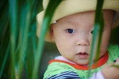 Счастливый крупный план стороны младенца Стоковая Фотография