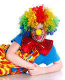 Счастливый клоун мальчика Стоковая Фотография RF