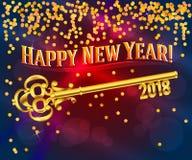 Счастливый ключ карточки Нового Года 2018 Стоковое Изображение RF