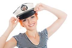 Счастливый матрос девушки с красными волосами Стоковая Фотография