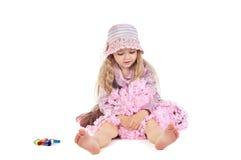 Счастливый маленький ребёнок в розовых юбке и шляпе балетной пачки Стоковые Фото