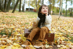 Счастливый мальчик в осени стоковое изображение rf