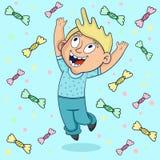 Счастливый мальчик скача внутри к дождю конфеты иллюстрация штока