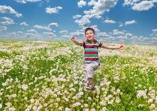 Счастливый мальчик с одуванчиками Стоковые Изображения