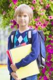 Счастливый мальчик чувствуя возбужденный о идти назад к школе Стоковая Фотография RF