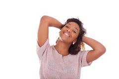Счастливый молодой афроамериканец изолированный на белой предпосылке - Blac Стоковая Фотография