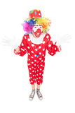 Счастливый мужской клоун показывать с руками Стоковые Фотографии RF