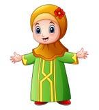 Счастливый мусульманский развевать шаржа девушки изолированный на белой предпосылке иллюстрация штока