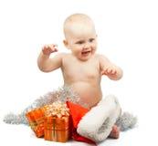 Счастливый младенец с сусалью серебра рождества Стоковые Изображения RF