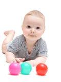 Счастливый младенец с шариками стоковое фото rf