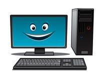 Счастливый настольный компьютер шаржа иллюстрация вектора