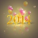 Счастливый новый 2014 года. предпосылка праздника с воздушными шарами Стоковое Изображение