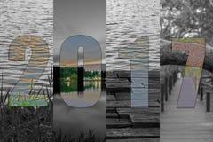 Счастливый Новый Год 2017 в лесе темы перемещения, мангрова, море, Beac Стоковые Изображения
