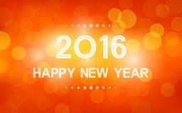 Счастливый Новый Год 2016 в картине пирофакела bokeh и объектива на предпосылке апельсина лета Стоковое фото RF