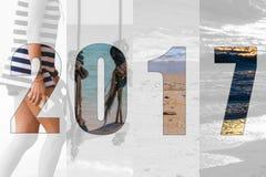 Счастливый Новый Год 2017 в море темы перемещения, пляж Стоковое Изображение