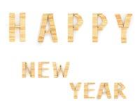 Счастливый Новый Год в форме от деревянного Стоковое Фото