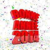 Счастливый Новый Год 2014 в французских языках иллюстрация штока