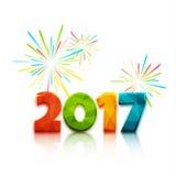 Счастливый Новый Год 2017 Дизайн текста также вектор иллюстрации притяжки corel Стоковое Изображение RF