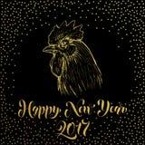 Счастливый Новый Год 2017 Кран петуха яркого блеска золота Стоковая Фотография RF