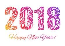 Счастливый Новый Год 2018 Красочные диаграммы сделанные в флористических ornamen иллюстрация вектора