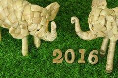 Счастливый Новый Год 2016 на концепции зеленой травы Стоковая Фотография
