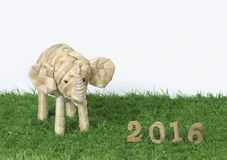 Счастливый Новый Год 2016 на концепции зеленой травы Стоковые Фотографии RF